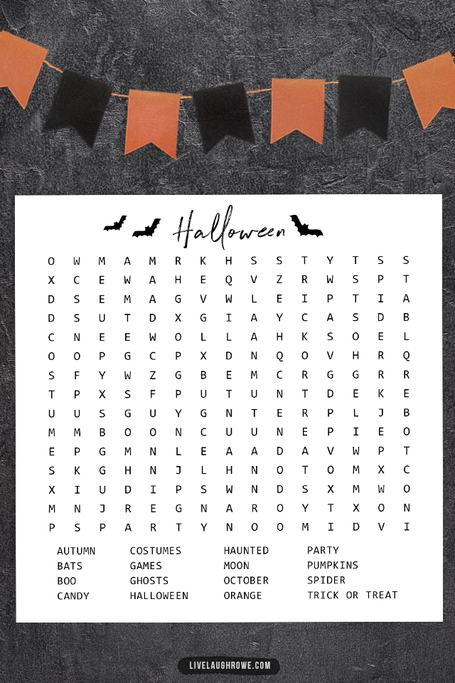 Close-Up of Halloween Word Search