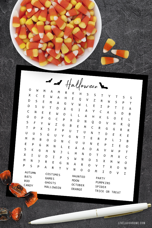 Halloween Word Search with Bowl of Candy Corn
