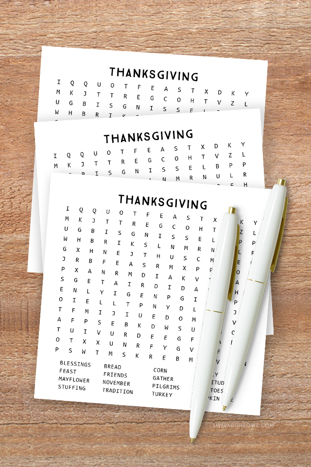 Thanksgiving Word Search Printables