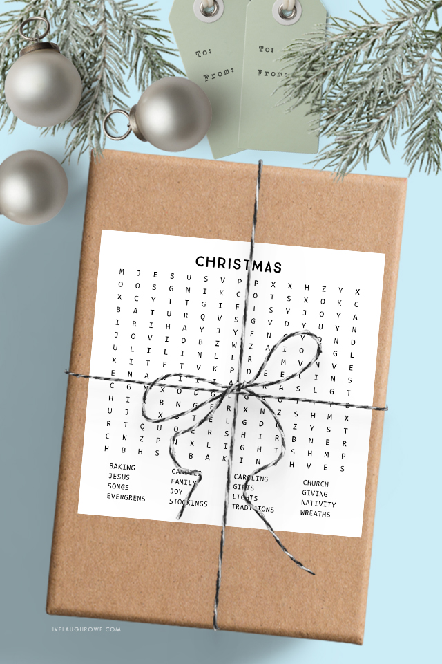Christmas Word Search on Package