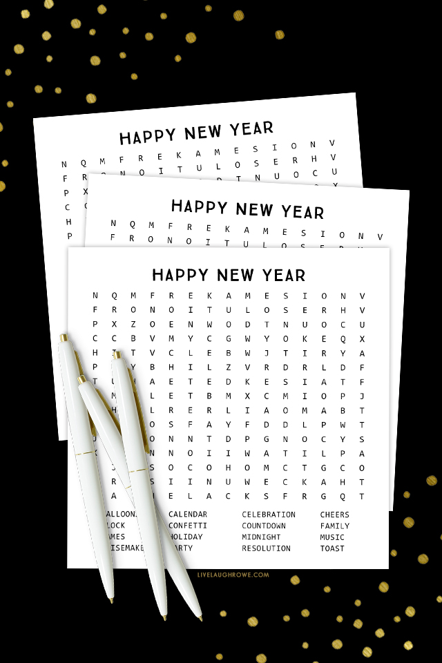 Printable New Years Word Search
