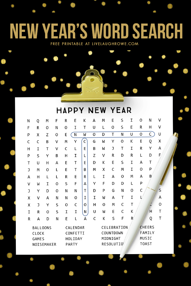 New Years Word Search Printable